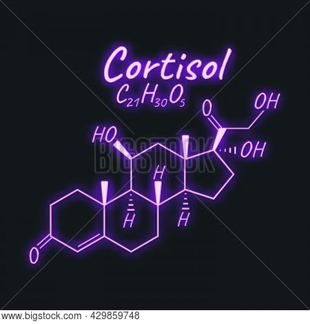 Human Hormone Cortisol Periodic Element Concept Chemical Skeletal Formula Icon Label, Text Font Neon