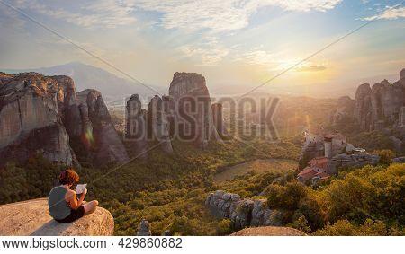 Meteora Monastery In Greece, Beautiful Panoramic Landscape