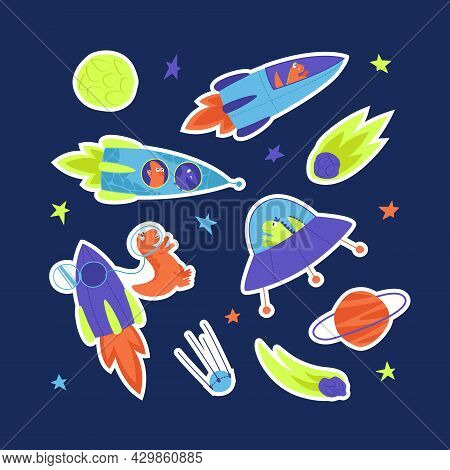 Neon Stickers Of Bright Dinosaurs Traveling Into Space On A Rocket. Dino Travels In A Rocket Through