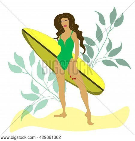 Beautiful Sexy Brunette With A Surfboard. Vector. A Girl Poses Against The Background Of Leaves. A S