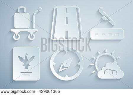 Set Compass, Plane Landing, Passport, Sun Cloud Weather, Airport Runway And Trolley Baggage Icon. Ve
