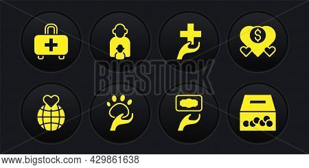 Set Hand Holding Earth Globe, Donation Charity, Animal Volunteer, Heart With Cross, Taking Care Of C