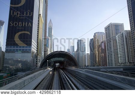 Dubai, United Arab Emirates - Jun 19, 2019: Metro Subway Tracks Of Dubai Metro Along Sheikh Zayed Ro