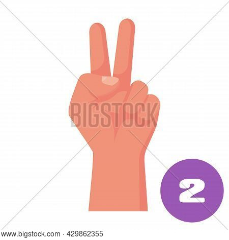 Two Fingers. 1 2 3 4 5 Flat Icon. Hand Gestures And Numbers With Your Fingers. Vector Illustration.