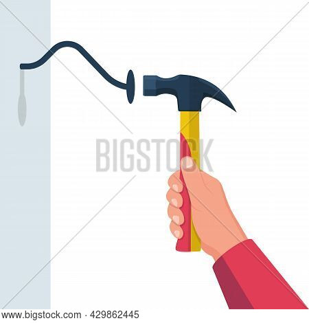 Bent Nail And Hammer. Hammer In Hand. Newbie In Work On The House. Wooden Plate With Nail. Vector Il