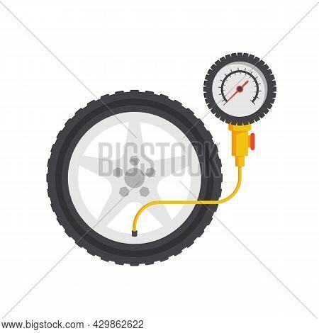 Tire Pressure Gauge. Checking Tire Pressure. Gauge, Manometer. Car Safe Concept. Sign, Wheel Car Wit