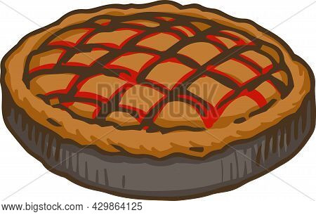 Gray Metal Baking Tray With Cranberry Cake. Vector Illustration Isolated On White
