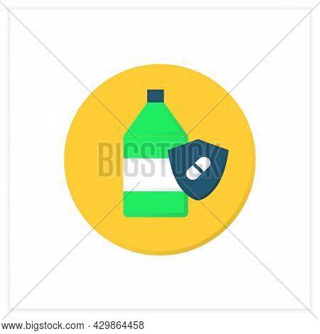 Probiotic Yogurt Flat Icon. Bifidobacterium Drink For Healthy Human Flora. Lactobacillus For Digesti