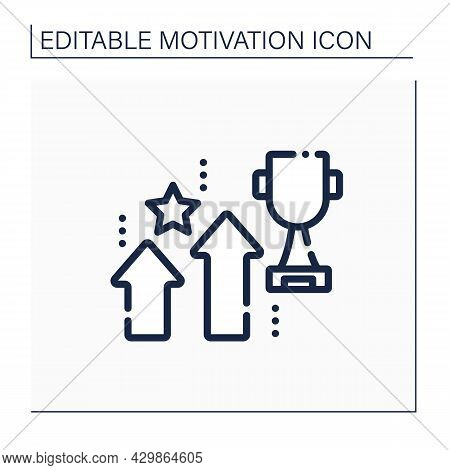 Success Rate Line Icon. Self-development. Percentage Of Success. Speed With Which People Achieved Go
