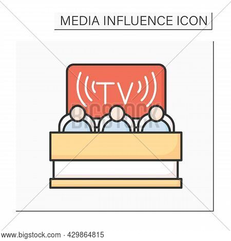 Tv Audience Color Icon. People Watching Television Broadcast. Media Influence On Public Opinion Movi