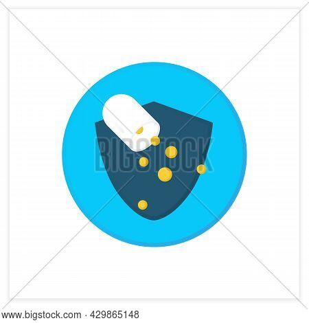 Probiotics In Capsule Flat Icon.probiotic Supplement For Healthy Balance Of Gut Bacteria, Immune And