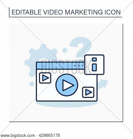 Explainer Video Line Icon. Short-form Video Clip. Highlights Company Product, Service, Or Business I