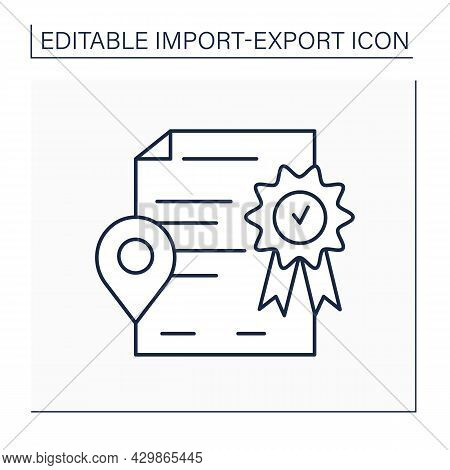 Certificate Of Origin Line Icon.document About Country Of Manufacture. Information About Product, De