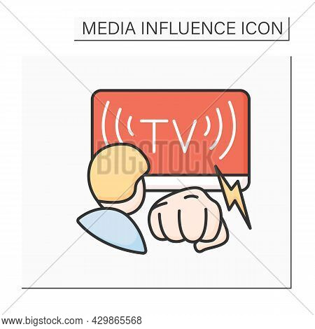 Media Violence Color Icon. Person Watching Tv And Fist. Media Impact On Crime Levels In Society And