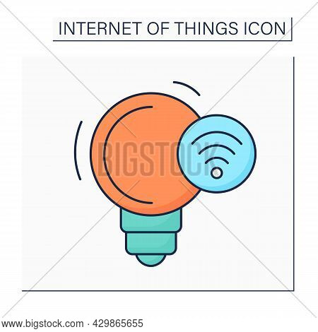 Smart Lighting Color Icon. Smart Home And Smart City. Intelligent Electronic Devices. Digital Smart