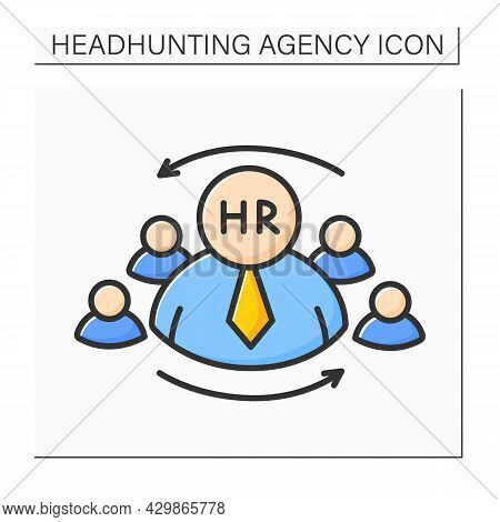 Hr Manager Color Icon. Human Resources Controller. Plan, Direct And Coordinate Organization Administ