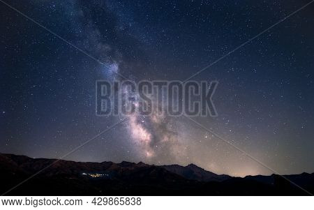 Milky Way Over The Mountains Of Monte San Parteo And Monte Grosso In The Balagne Region Of Corsica