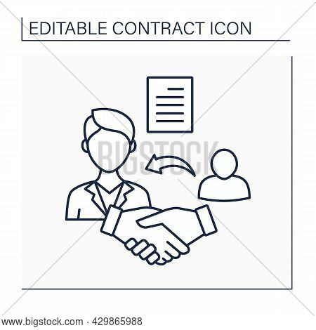 Agent Line Icon. Person Who Acts Or Represents A Client. Enters Into Contracts. Agreement. Contract