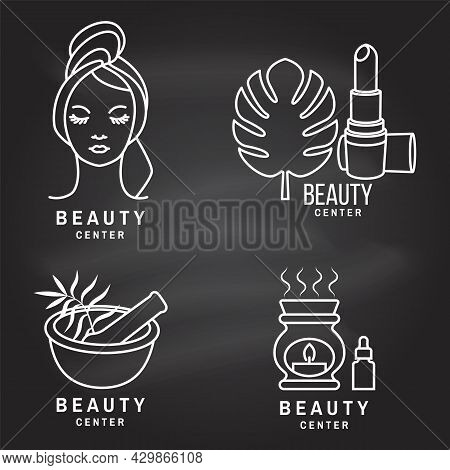 Set Of Beauty Center Emblem With Woman Face, Ceramic Candle Aroma Oil Lamp, Mortar And Pestle, Lipst