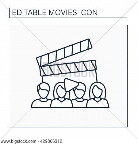 Cast Line Icon. Actors Group Make Up Film Plays. Casting. Movie Concept. Isolated Vector Illustratio