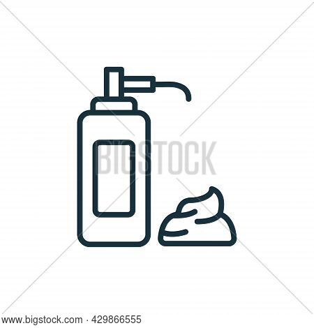 Foam Pump Bottle For Shave Line Icon. Package For Lotion, Gel, Cream Linear Pictogram. Container For