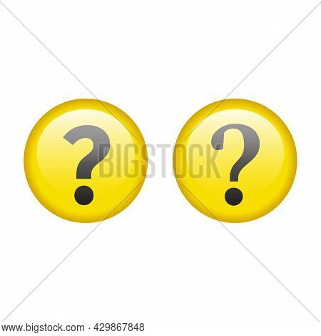 Question Mark Glossy Yellow Button. Help Shiny Circle Icon.