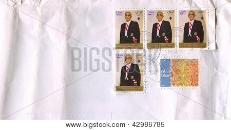LIBAN - CIRCA 2013: A stamp printed in Liban shows image of the President Sleiman Frangie, circa 2013.