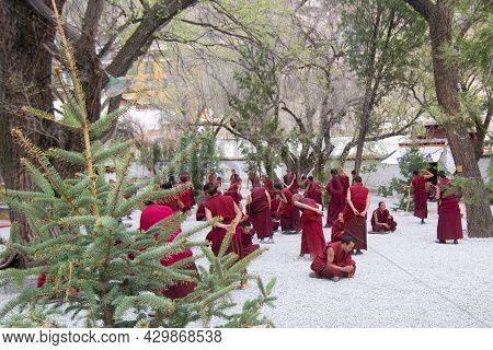 Lhasa Tibet China 15 Apr2016 The Debates Among Tibetan Monks On The Tibetan Buddhism In Sera Monaste