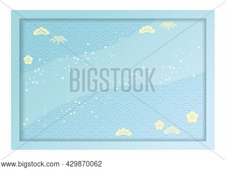 3-d Relief Frame And Background Illustration Decorated With Japanese Vintage Patterns. Vector Illust