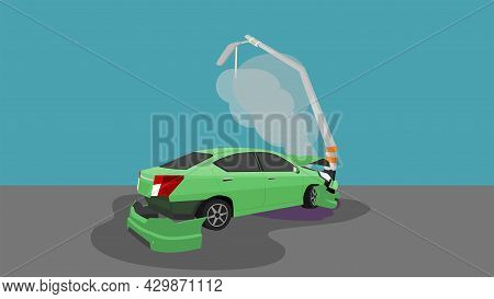 Damage Car Crash Pole Light Accident Cannot Drive. The Front And Back Is Severely Damaged With Smoke