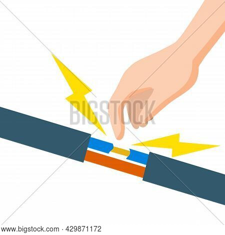 Electric Shock And Short Circuit. Hand Touches Bare Wire. High Voltage. Dangerous Situation. Damaged
