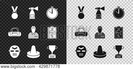 Set Medal, Air Horn, Stopwatch, Hockey Mask, Mallet For Playing Air Hockey, Award Cup, Sport Bag And