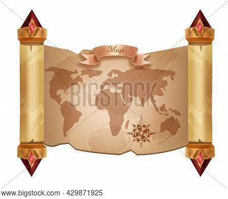 Old World Map Vector Background, Cartography Travel Vintage Scroll Paper Isolated On White. Antique