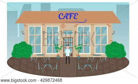 Street Cafe. Coffee Shop. City Cafe. Urban Spring And Summer Landscape. The Concept Of Flat Design.
