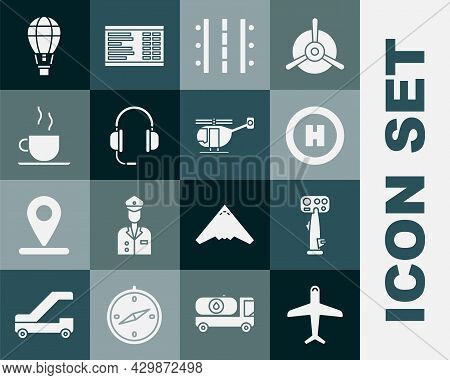 Set Plane, Aircraft Steering Helm, Helicopter Landing Pad, Airport Runway, Headphones With Microphon
