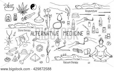 A Set Of Isolated Vector Illustrations On The Topic Of Alternative Medicine In The Doodle Style. Aro