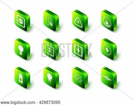 Set Electric Plug, High Voltage, Ampere Meter, Multimeter, Voltmeter, Lightning Bolt, Circuit Scheme