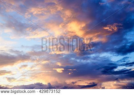 Sunset In The Evening After Rain. Summer Evening. Sky View