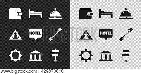 Set Wallet, Bed, Hotel Service Bell, Sun, Museum Building, Road Traffic Sign, Tourist Tent And Locat