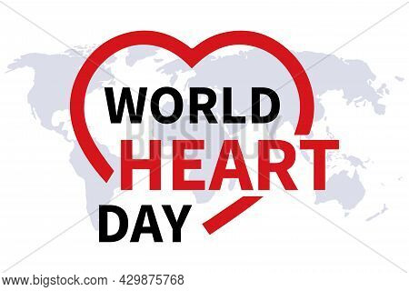 A Creative Poster Or Banner Of The World Heart Day. The Outline Of The Heart Shape With The Inscript