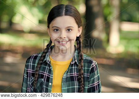 Be Your Own Kind Of Beautiful. Happy Girl Smile On Sunny Outdoors. Beauty Look Of Little Child. Beau