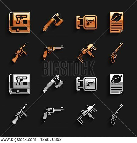 Set Revolver Gun, Firearms License Certificate, Mp9i Submachine, Tommy, Hunting Shop Weapon, Book Wi