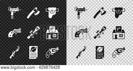 Set Uzi Submachine Gun, Wooden Axe, Gun Holster, Hunting, Firearms License Certificate, Small Revolv