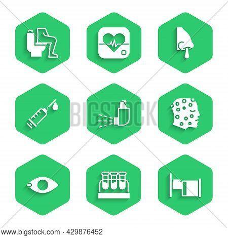 Set Inhaler, Test Tube With Blood, Hospital Bed, Psoriasis Or Eczema Rash, Blindness, Syringe, Runny