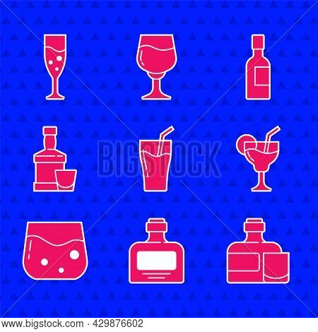 Set Glass Of Juice, Whiskey Bottle, And Glass, Cocktail, Whiskey, Champagne And Champagne Icon. Vect
