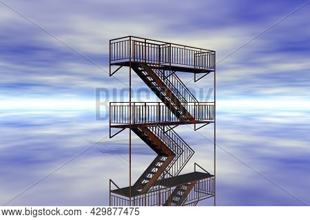 Stairs To Heaven Surreal Scene 3d Rendering
