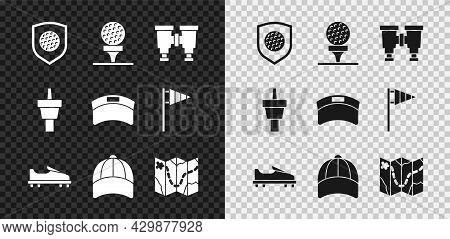 Set Golf Ball With Shield, On Tee, Binoculars, Shoe, Baseball Cap, Course Layout, And Sun Visor Icon