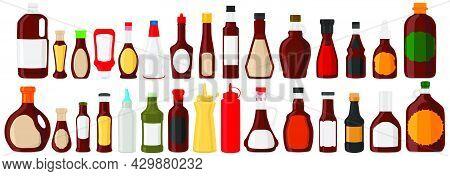 Illustration Big Kit Varied Glass Bottles Filled Liquid Sauce Teriyaki