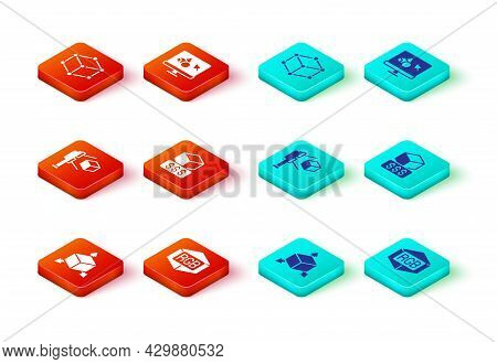 Set Isometric Cube, Rgb And Cmyk Color Mixing, 3d Scanner With, Printer Services, Software And Icon.