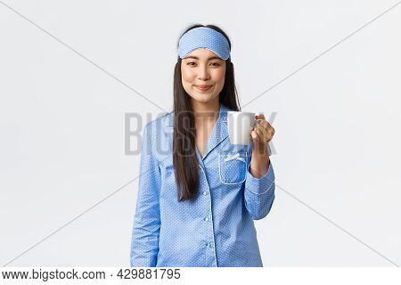 Morning Lifestyle, Breakfast And People Concept. Smiling Cheerful Asian Girl In Blue Sleeping Mask A